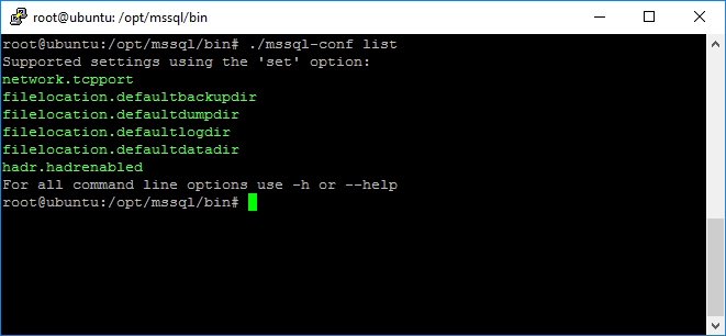 Execution of mssql-conf with list argument.