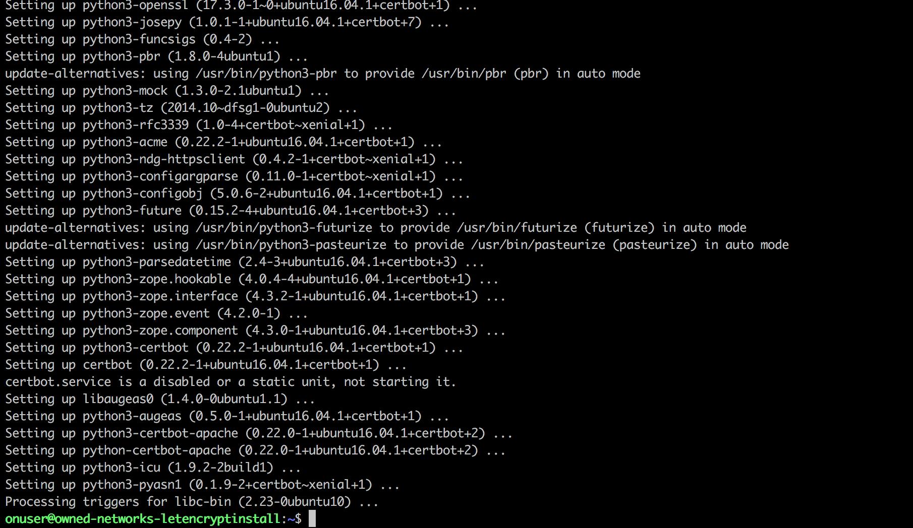 letsencypt apt-get install certbot on ubuntu
